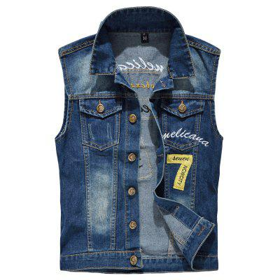 Men's  Fashion Embroidery Patchwork Frayed Denim Vest Outwear
