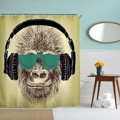 Headset Gorilla Polyester Shower Curtain Bathroom  High Definition 3D Printing Water-Proof music score bathroom shower curtain