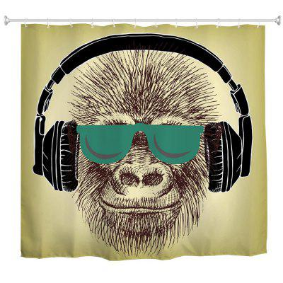 Headset Gorilla Polyester Shower Curtain Bathroom  High Definition 3D Printing Water-Proof