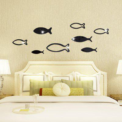 Underwater World Fish Mirror Pasted Bathroom Parlor Bedroom Decoration 3D Wall Stickers