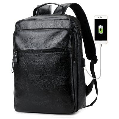 Men PU Leather Laptop Waterproof Casual Travel Large Capacity School Backpack with USB