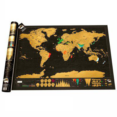 High Quality Black Gold Travel Map World Edition Travel Life