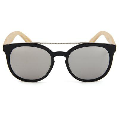 Fashion New Bamboo Glasses Round Frame Color Film Sunglasses Metal ...