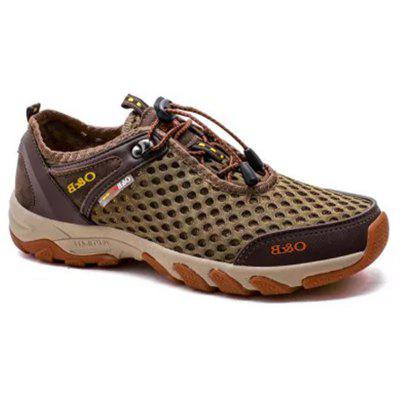 Men's Fashion Outdoor Breathable Leather Mesh Shoes
