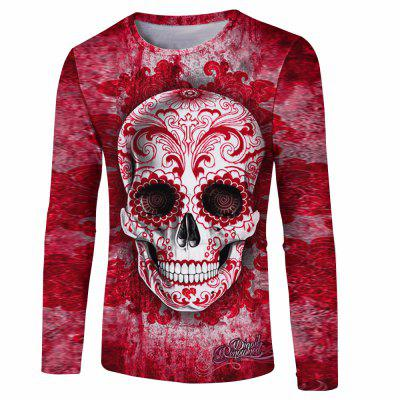 Buy RED L Skull Printed Men's Long-Sleeved T-Shirt for $21.65 in GearBest store