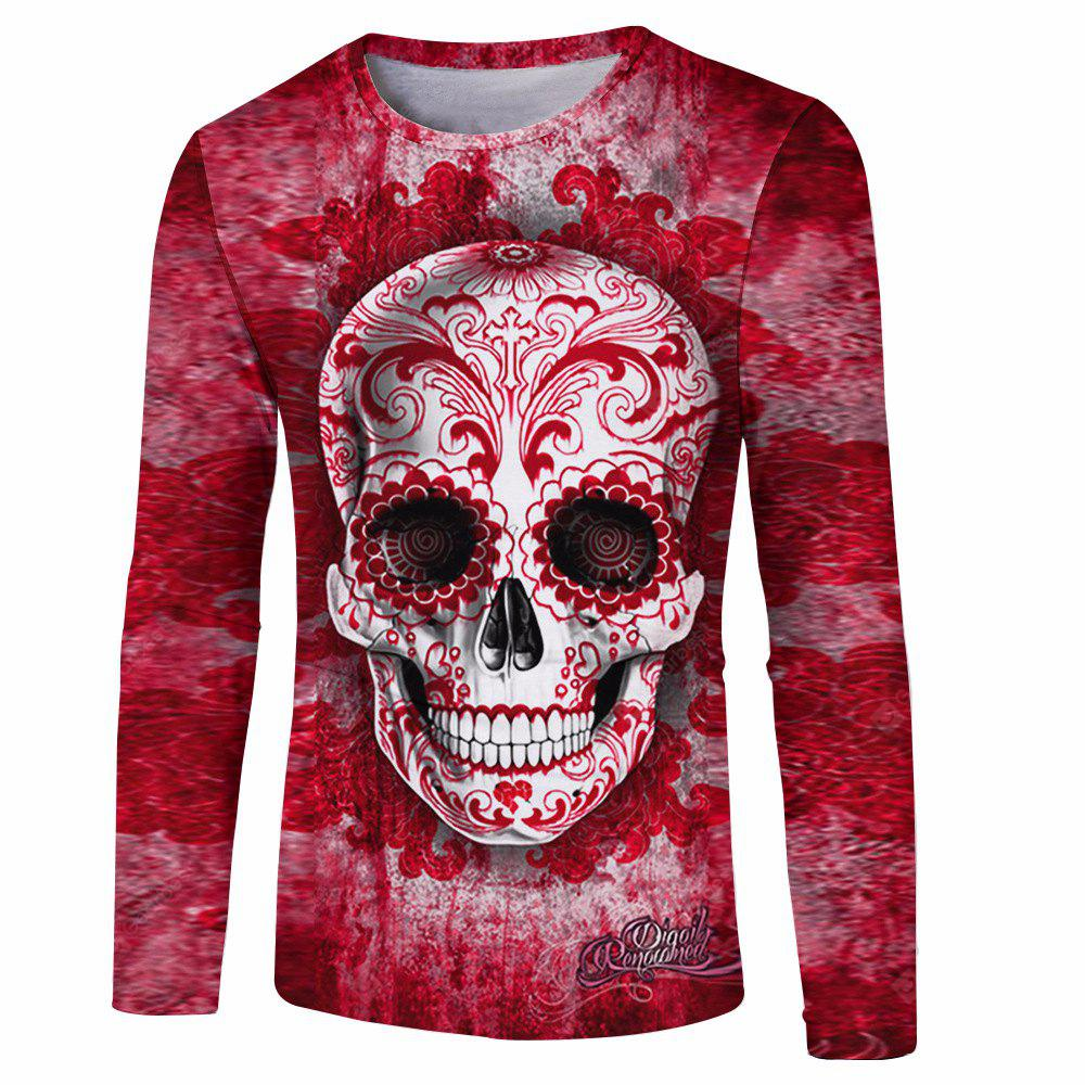 RED 3XL Skull Printed Men's Long-Sleeved T-Shirt
