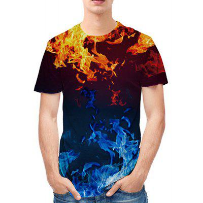 Water Fire Creative Printing 3D Printing Trend T-Shirt