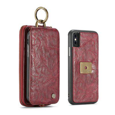 CaseMe for iPhone X 2 in 1 Multi Slots Wallet Vintage Split Leather Mobile Phone Case with Zipper Card Compartment