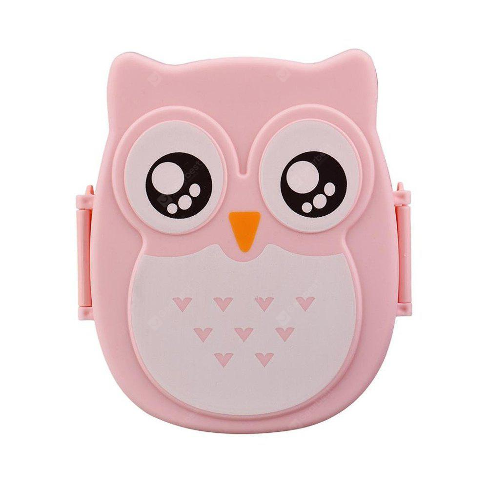 Owl Lunch Food Container Storage Box Portable PINK
