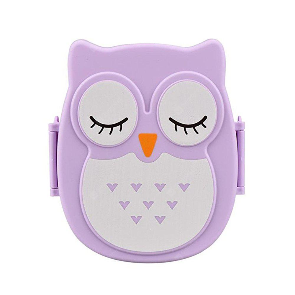 Owl Lunch Food Container Storage Box Portable PURPLE