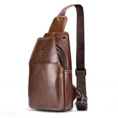 LAOSHIZI LUOSEN 2018 Men Fashion Vintage couro de couro genuíno Travel Riding Motorcycle Pack Chest Bag