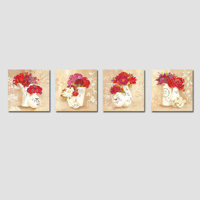 QiaoJiaHuaYuan No Frame Canvas Living Room Sofa Background Four Union Picture European Contracted Vase Decoration Hangs