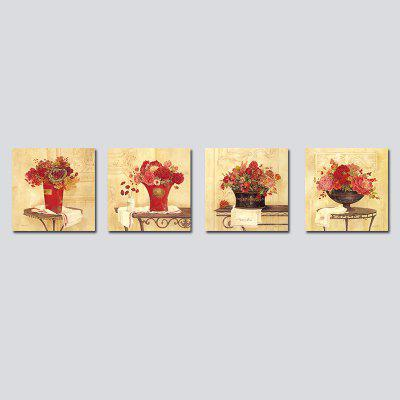 QiaoJiaHuaYuan Frameless Canvas Sitting Room Sofa Potted Flower Adornment 4PCS
