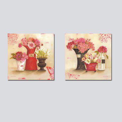 QiaoJiaHuanHuan No Frame Canvas Plant Flower Living Room Sofa Bedroom Decoration 2PCS