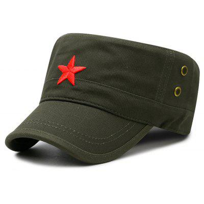 New Unique Star Embroidery Breathable Flat Top Hat