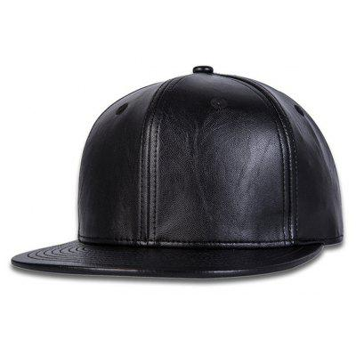 New Adjustable Black Leather Baseball Cap Outdoor Sport Hat
