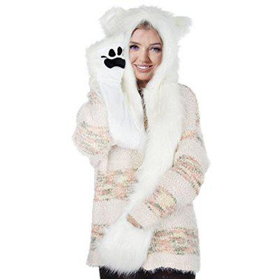White Anime Spirit Paws Ears Mittens Gloves Scarf Zipper