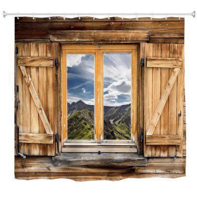 Mountain View Window Polyester Shower Curtain Bathroom  High Definition 3D Printing Water-Proof