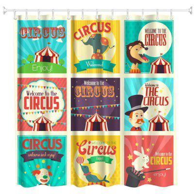 Circus Collection Polyester Shower Curtain Bathroom High Definition 3D Printing Water Proof