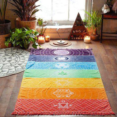 Single Yoga Towels with Tassels Rainbow Chakra Tapestry Stripes Mats