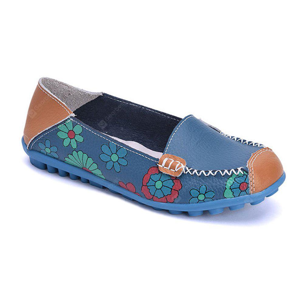 Leather Printing Soft Surface Comfortable Non-slip Flat Shoes for Women