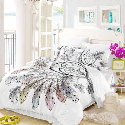 Bohemia 3D Series Necklace Three Piece Feather Bedding Set of Four AS34