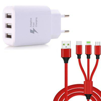 3 in 1  Type-C + 8 Pin + Micro USB Data Charging Cable+3 USB Fast Wall Charger for iPhone / Samsung / Huawei