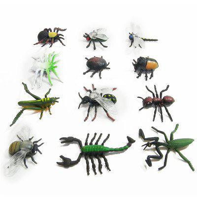 Simulation Insect Model Children Toy Spider Beetle Locusts Dragonfly Ant Scorpion Flies 12PCS