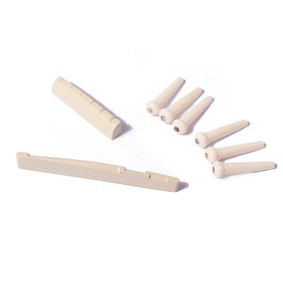 Folk Guitar Nut and Saddle Bridge Pins SetGuitar Parts<br>Folk Guitar Nut and Saddle Bridge Pins Set<br><br>Materials: ABS<br>Package Contents: 1 x Nut , 1 x Saddle ,  6 x Bridge Pins<br>Package size: 9.00 x 7.00 x 1.00 cm / 3.54 x 2.76 x 0.39 inches<br>Package weight: 0.0100 kg<br>Suitable for: Guitar<br>Type: Other