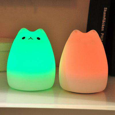 Cat Pattern Silica Gel Lamp Sleeping Animal Night Light Colorful Bed Lights