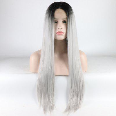 Silver Long Straight Ombre Color Black Root Heat Resistant Synthetic Hair Lace Front Wigs for Women