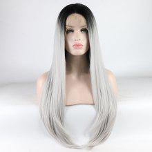 Long Straight Silver Black Root Heat Resistant Synthetic Hair Lace Front Wigs for Women
