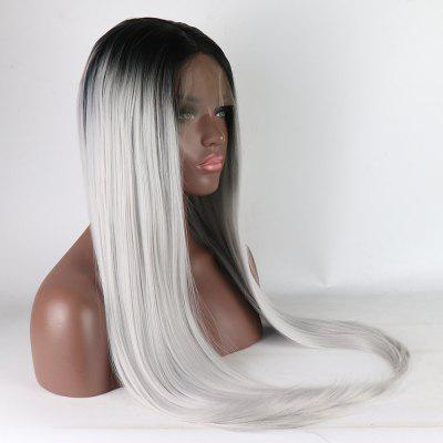 Ombre Black Root Silver Color Long Straight Heat Resistant Synthetic Hair Lace Front Wigs for Women ombre long wavy synthetic lace front wig two tone color 1b black root to purple heat resistant hair wigs for women free shipping