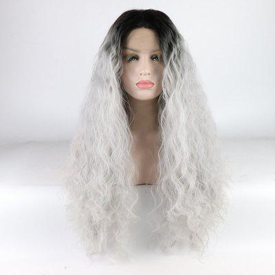 Silver Color Ombre Black Root Long Curly Heat Resistant Synthetic Hair Lace Front Wigs for Women