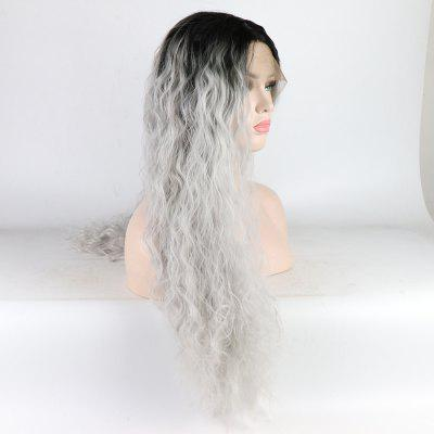 Silver Color Ombre Black Root Long Curly Heat Resistant Synthetic Hair Lace Front Wigs for Women ombre long wavy synthetic lace front wig two tone color 1b black root to purple heat resistant hair wigs for women free shipping