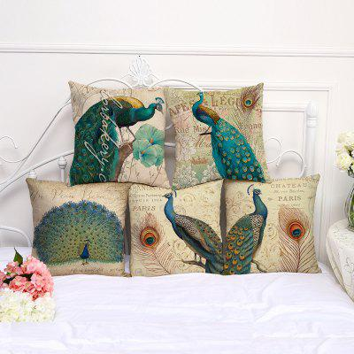 A1090-4 Vintage Peacock Printed Cotton Sofa Soft Pillow  Bedroom Car Seat Cushion Cover 45x45cm