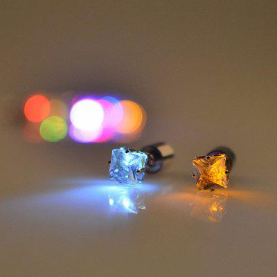 Fashion Trend  2PCS New Square Diamond Earrings  LED With A Sweet  Ear Drill