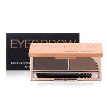 HERES B2UTY Professional Eyebrow Powder Brown and Grey 2 Color Palette with Oblique Head and Spiral Brush