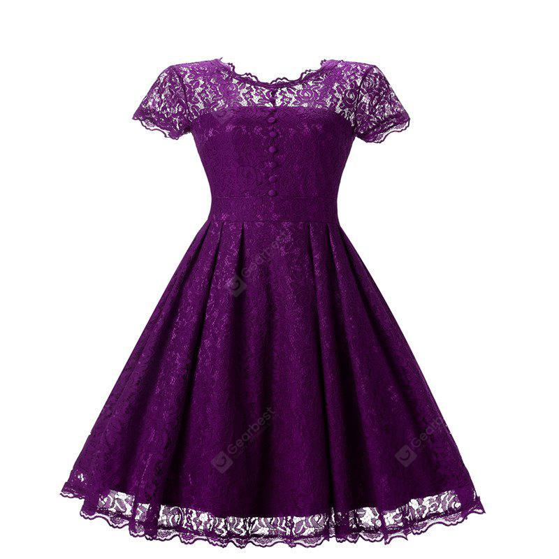 Women's Short Sleeve Vintage Rockabilly Lace Party Dress