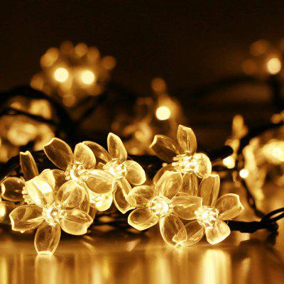 gmy lighting imports 50 led warm white solar flower shaped christmas string lights garden holiday party