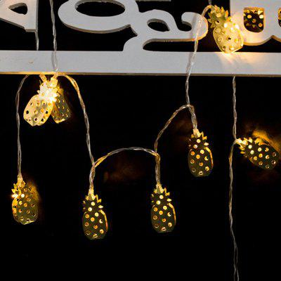 Iron Golden Pineapple Christmas String Lights Fairy LED Home Decor Light Home Garden of Battery Powered 1.65M 10 LED