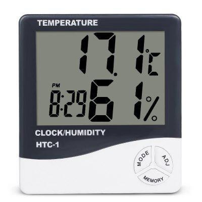 BALDR Indoor Room LCD Electronic Temperature Humidity Meter Digital  Hygrometer Weather Station Alarm Clock