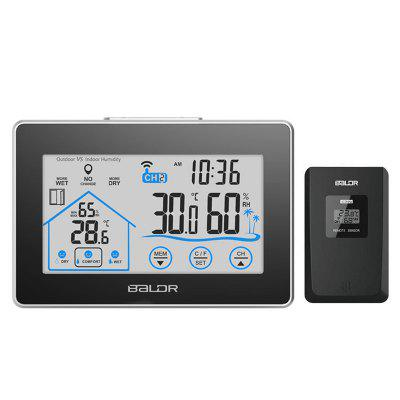 BALDR LCD Touch Screen Weather Station Displays Temperature and Humidity Outdoor Sensor Included White Backlight