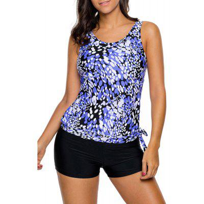 Dewdrop Print Blouson Tankini SetWomens Swimwear<br>Dewdrop Print Blouson Tankini Set<br><br>Bra Style: Push Up<br>Elasticity: Elastic<br>Gender: For Women<br>Material: Polyester<br>Package Contents: 1xTank Top,1xBriefs<br>Pattern Type: Print<br>Support Type: Wire Free<br>Swimwear Type: Tankini<br>Waist: Natural<br>Weight: 0.3000kg<br>With Pad: Yes