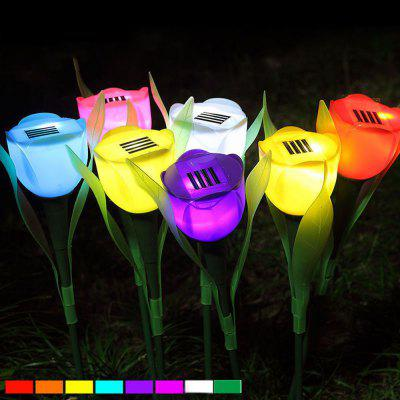 6PCS/SET Colors Outdoor Solar Light Powered Tulip Flower LED Light Yard Garden Path Way Lamp