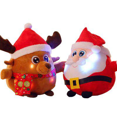 Glowing Christmas Elk Santa Claus Plush Toy Inductive Luminous with LED Lights Doll for Kids giant christmas inflatable 5m high inflatable christmas santa claus cartoon for outdoor party events festival toy