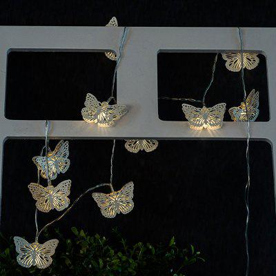 Iron Butterfly String Lights LED Home Decor Light Home Garden Battery Powered 1.65M 10 LED