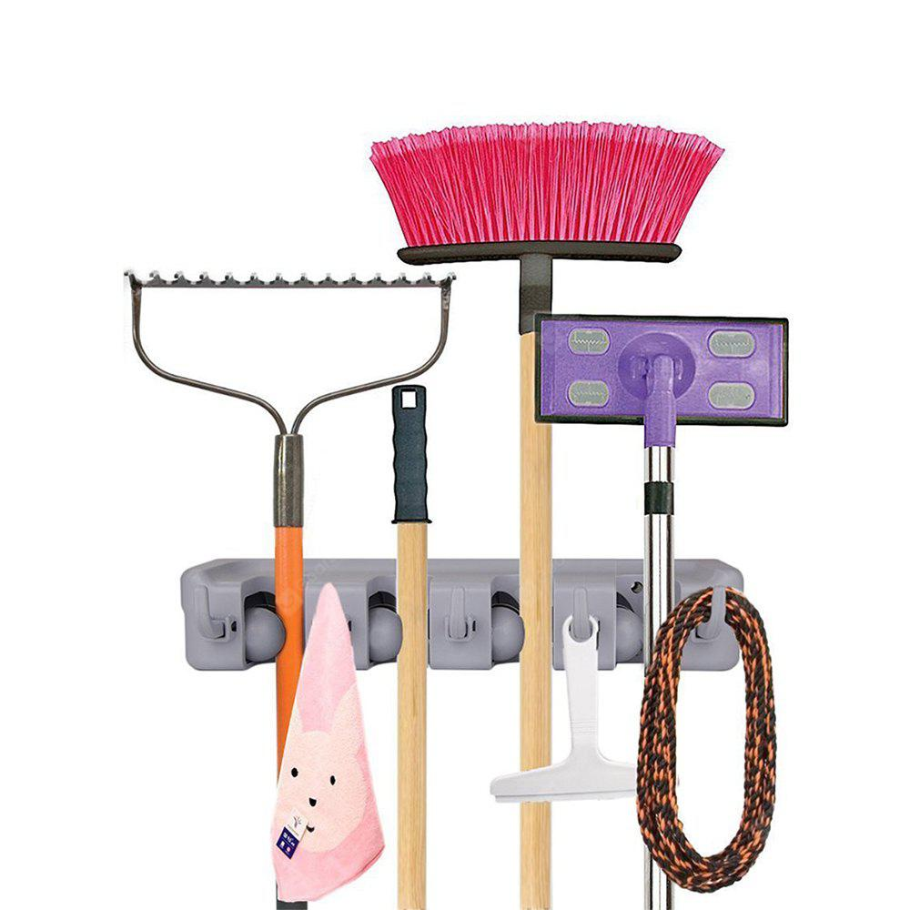 Mop and Broom Wall Mounted Holder With 4 Slots and 5 Hooks for Garage,Garden and Kitchen etc