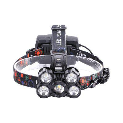 U`King 5000LM 5x XML-T6 4 Mode Zoomable Rechargeable Multifunction Headlamp with USB Charge Output PortHeadlights<br>U`King 5000LM 5x XML-T6 4 Mode Zoomable Rechargeable Multifunction Headlamp with USB Charge Output Port<br><br>Adjustable Focus: Yes<br>Available Light Color: White<br>Battery Included or Not: No<br>Battery Quantity: 3<br>Battery Type: 18650<br>Beam Distance: 100-200m<br>Body Material: ABS, Aluminium Alloy<br>Color: Black<br>Color Temperature: 6000-6500K<br>Emitters Quantity: 5<br>Feature: Lightweight, Rechargeable, Headlamp<br>Function: Hiking, Camping, Fishing<br>Luminous Flux: 5000LM<br>Main Emitters: XM-L T6<br>Mode: all strobe,  all on, middle T6 on,  side 4*T6 on<br>Mode Memory: No<br>Package Contents: 1 x Headlamp, 1 x Micro USB Charge Cable, 1 x English Manual<br>Package size (L x W x H): 12.00 x 11.60 x 10.00 cm / 4.72 x 4.57 x 3.94 inches<br>Package weight: 0.2700 kg<br>Power Source: Battery<br>Product size (L x W x H): 26.00 x 18.00 x 11.00 cm / 10.24 x 7.09 x 4.33 inches<br>Product weight: 0.2500 kg<br>Rechargeable: Yes<br>Switch Location: Head<br>Switch Type: Clicky<br>Type: LED Headlamp