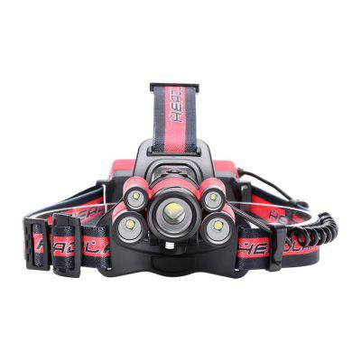 U`King 4000LM XML-T6 5-Mode 5 LEDs  Zoomable Multifunctional Head Lamp for Camping Hiking FishingHeadlights<br>U`King 4000LM XML-T6 5-Mode 5 LEDs  Zoomable Multifunctional Head Lamp for Camping Hiking Fishing<br><br>Adjustable Focus: Yes<br>Available Light Color: White<br>Battery Included or Not: No<br>Battery Quantity: 2<br>Battery Type: 18650<br>Beam Distance: 100-200m<br>Body Material: ABS, Aluminum<br>Color: Black,Red,Blue,Yellow<br>Color Temperature: 6000-6500K<br>Emitters Quantity: 5<br>Feature: Headlamp, Lightweight, Rechargeable<br>Function: Hiking, Camping, Fishing<br>Headlight Brand: UKing<br>Luminous Flux: 4000LM<br>Main Emitters: Other,XM-L T6<br>Mode: all strobe, all on, 2xQ5, 1xT6, 2xT6<br>Mode Memory: No<br>Package Contents: 1 x Headlamp 1 x Micro USB Charge Cable, 1 x English Manual<br>Package size (L x W x H): 12.00 x 11.60 x 10.00 cm / 4.72 x 4.57 x 3.94 inches<br>Package weight: 0.1900 kg<br>Power Source: Battery<br>Product size (L x W x H): 26.00 x 18.00 x 11.00 cm / 10.24 x 7.09 x 4.33 inches<br>Product weight: 0.1670 kg<br>Rechargeable: Yes<br>Switch Location: Head<br>Switch Type: Clicky<br>Type: LED Headlamp